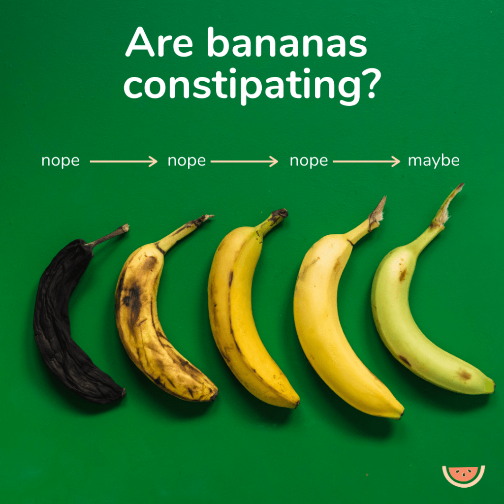 A line up of bananas at different stages of ripeness with the headline: do bananas cause constipation?