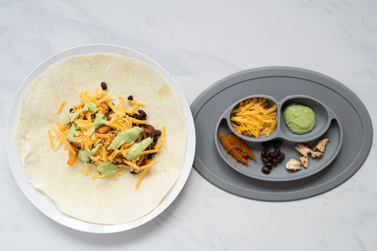 A side by side image of a chicken fajita ready to wrap for mom and dad beside a baby friendly version in a divided plate.