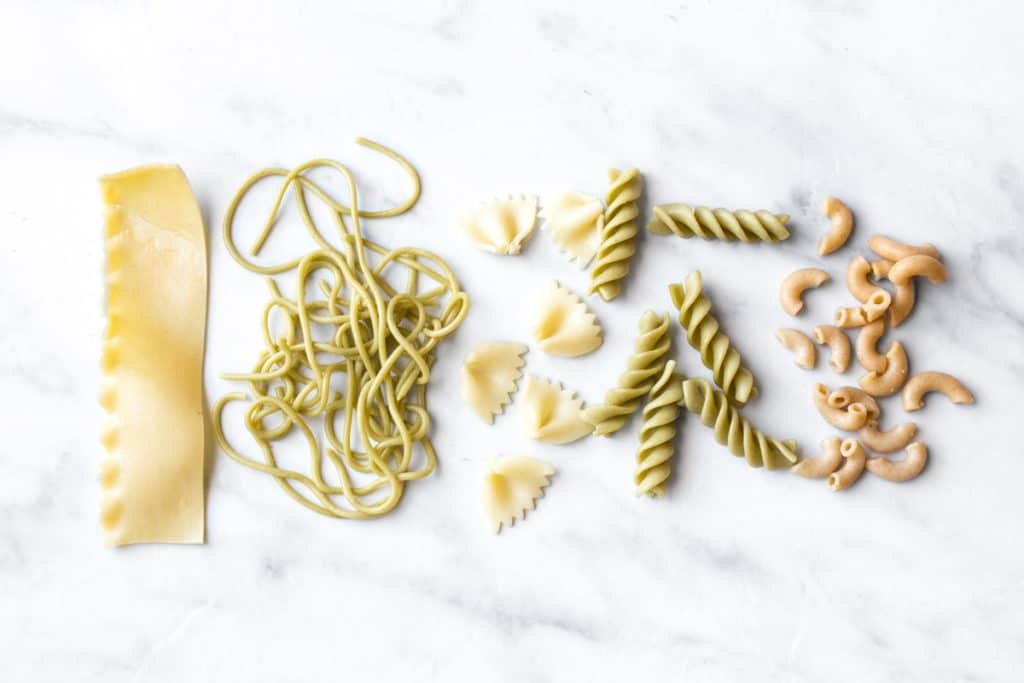 Different types of pasta to try with baby as they get older.